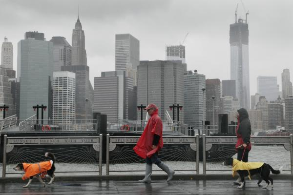 Peter Cusack, center, and Mel Bermudez walk their dogs along the Brooklyn waterfront as Hurricane Sandy advances on New York City. The storm forced the shutdown of mass transit, schools and financial markets.