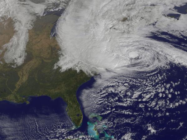 A satellite image of Hurricane Sandy as it approaches the East Coast at 10:40 a.m. on Monday.