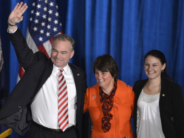 Former Virginia Gov. Tim Kaine is joined by his wife and daughter in celebrating his Senate victory over Republican George Allen.