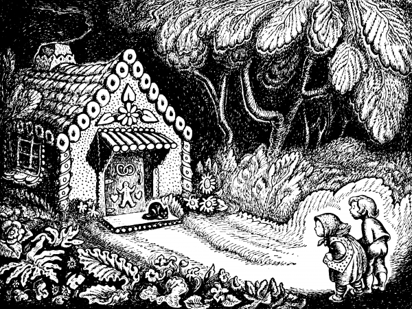 Brother and sister make their fateful first sighting of the witch's house made of gingerbread in <em>Hansel and Gretel</em>.