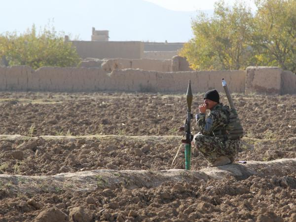 Afghan National Army soldier in one of the quieter parts of Logar Province.