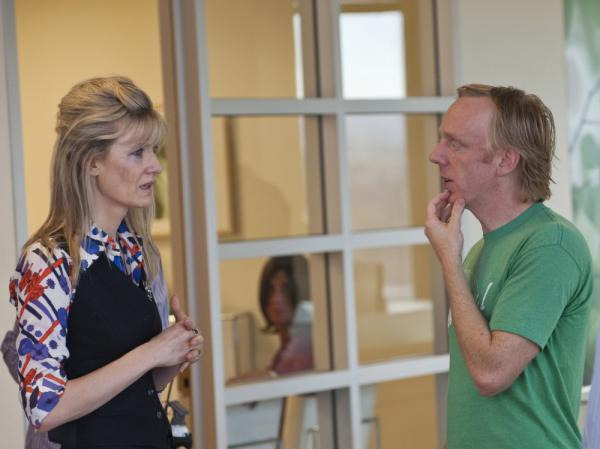 <p>Laura Dern and series creator Mike White, shown together on the set of <em>Enlightened,</em> first worked together on White's 2007 film <em>Year of the Dog.</em></p>