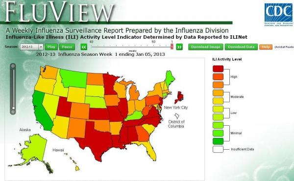 The Centers for Disease Control and Prevention's latest map about this year's flu outbreak. The redder the state, the more serious the situation was in the week ended Jan. 5.