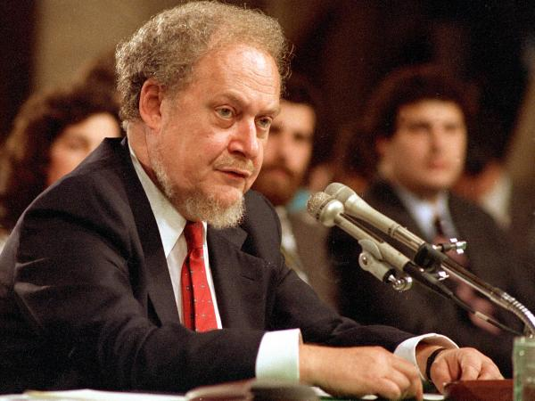Judge Robert Bork in September 1987, at the Senate hearing on his nomination to the Supreme Court.