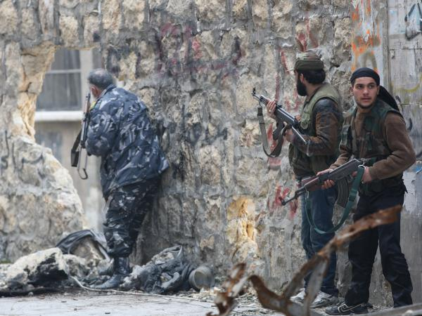 Rebel fighters in Aleppo, Syria, in January.