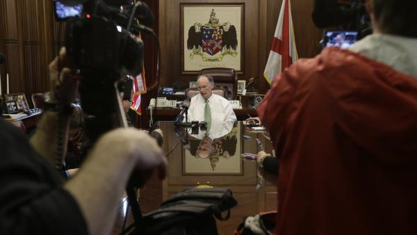 Gov. Robert Bentley talks with reporters in his office, one day after Alabama Republicans adopted legislation to provide state tax credits to attend private schools.