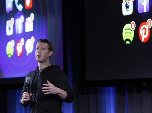 "CEO Mark Zuckerberg at Thursday's ""Facebook phone"" announcement."