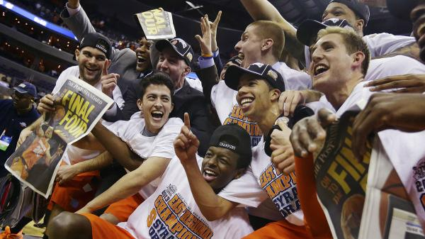 Syracuse celebrates after the team's 55-39 win over Marquette, in Washington last Saturday.