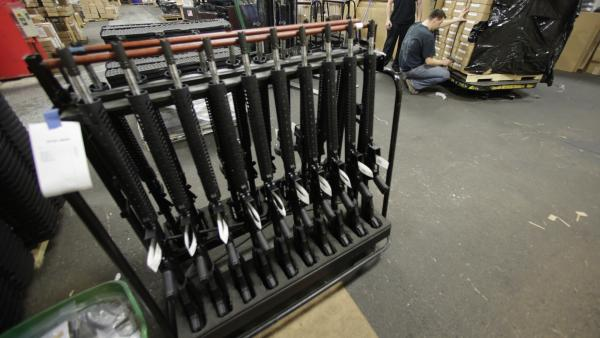 Newly made AR-15 rifles at Stag Arms in New Britain, Conn., last Wednesday.