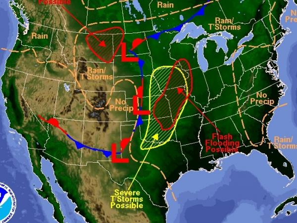 Thursday's forecast: More storms across the nation's midsection.