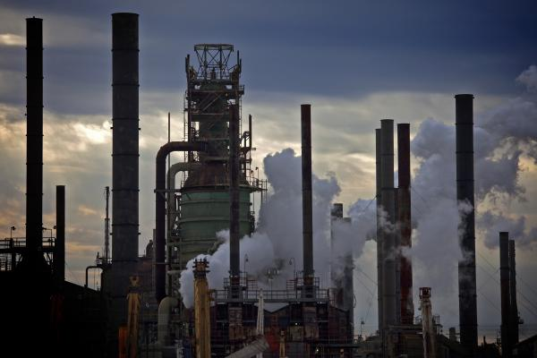 An evening view of the Exxon Mobil oil refinery complex in Baton Rouge, La.