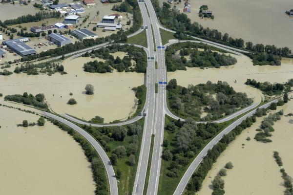 A cloverleaf is partially flooded by the river Danube near Deggendorf, southern Germany, on June 6, 2013.