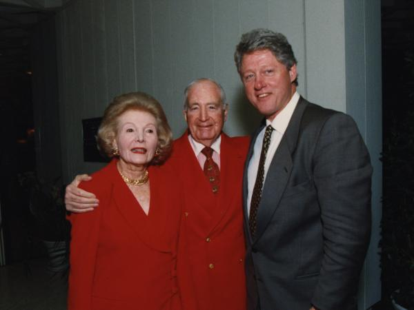 President Bill Clinton with Walter and Leonore Annenberg at the entrance of the historic estate on Feb. 14, 1995.