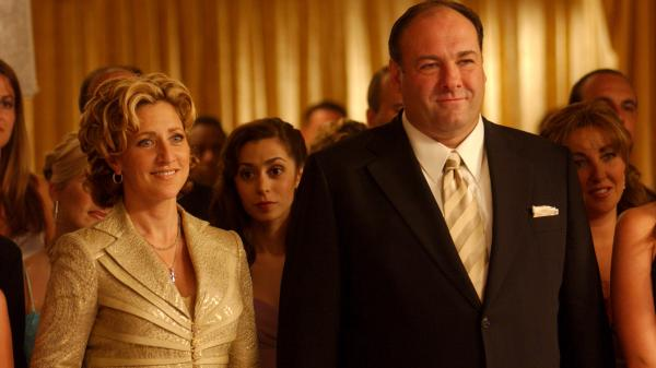 James Gandolfini as Tony Soprano and Edie Falco as his wife, Carmella, in a scene from <em>The Sopranos.</em> Gandolfini died of cardiac arrest in Italy, according to reports citing a doctor at the hospital where was admitted.