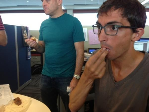 Upon eating the hybrid cronut for the first time, Ian experiences a hybrid emotion known as Hapgret.
