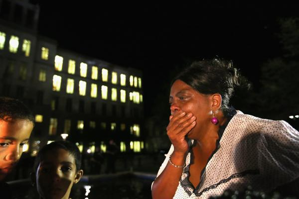 A stunned Carmen Taylor bursts into tears in front of the Seminole County Criminal Justice Center after learning the verdict.