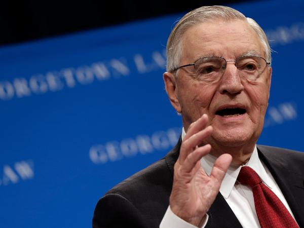 Former Vice President Walter Mondale speaks at a Georgetown University Law Center discussion last week. He is one of several prominent individuals calling for better legal representation for the poor.