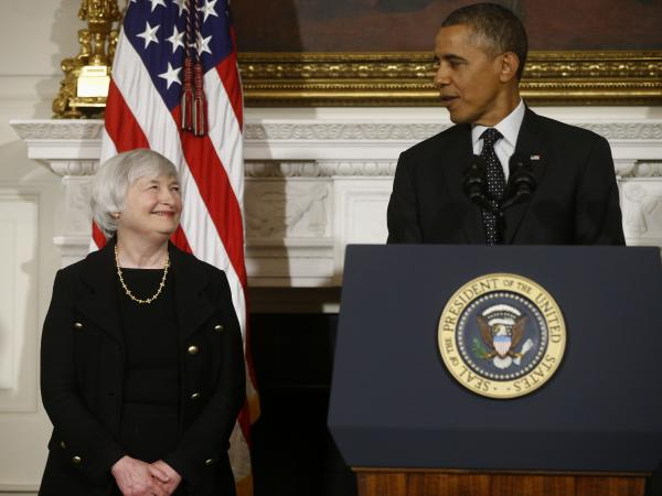 President Obama stands with Janet Yellen, his choice to lead the Federal Reserve Board, at the White House on Wednesday.