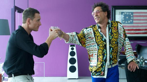 In <em>The Counselor, </em>a<em> </em>lawyer (Michael Fassbender, left) goes into business with drug dealer Reiner (Javier Bardem) — and gets in just a little bit over his head.