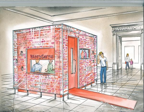 An early vision of the StoryCorps studio at Grand Central Terminal in New York City.