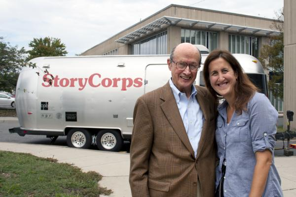 StoryCorps participants (l-r) Norman Bernstein and his daughter Liz Norton stand outside a StoryCorps MobileBooth after recording their conversation in Arlington, Va., last year.