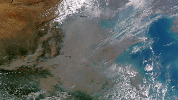The cloud of smog that smothered Harbin, China, as seen from space. (NOAA)
