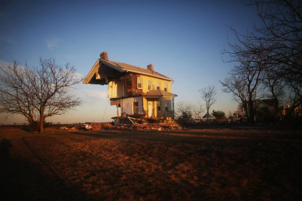 The iconic Princess Cottage, built in 1855, barely remains standing on Nov. 21, 2012, in Union Beach, N.J., after being ravaged by flooding caused by Superstorm Sandy.