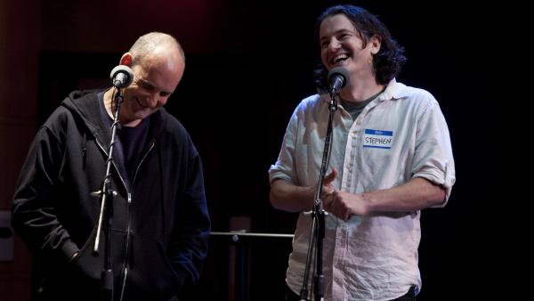 Ian MacKaye (left) and NPR's Stephen Thompson play an <em>Ask Me Another</em> Challenge in Washington, D.C.