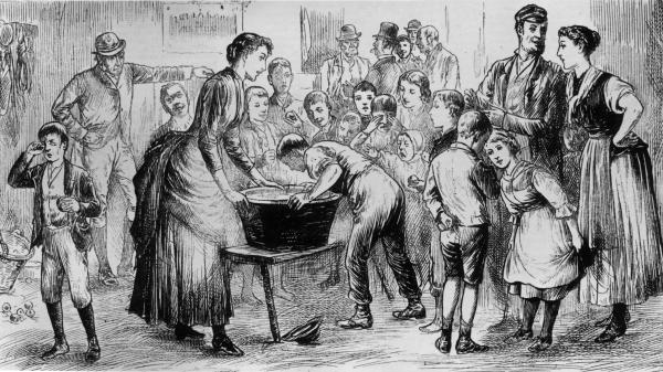 In 1886, Irish Halloween celebrations included bobbing for apples.