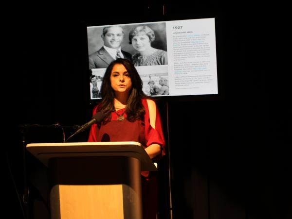 Davar Ardalan speaking about her grandparents and her Iranian heritage during a book event earlier this month at NPR West.