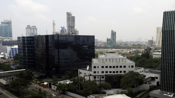 A view of the Australian embassy (center-right) and surrounding buildings in Jakarta, Indonesia. The Indonesian government summoned the Australian envoy in Jakarta over reports that his embassy was involved in U.S.-led surveillance operations.