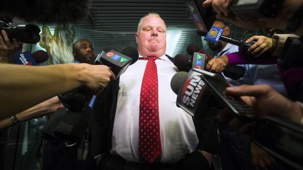 Toronto Mayor Rob Ford as he faced reporters questions Thursday.