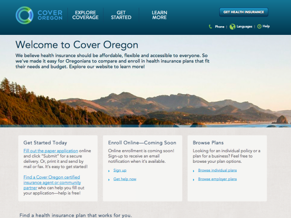Cover Oregon's website asks people to fill out a paper application online, and then submit it electronically or by mail.