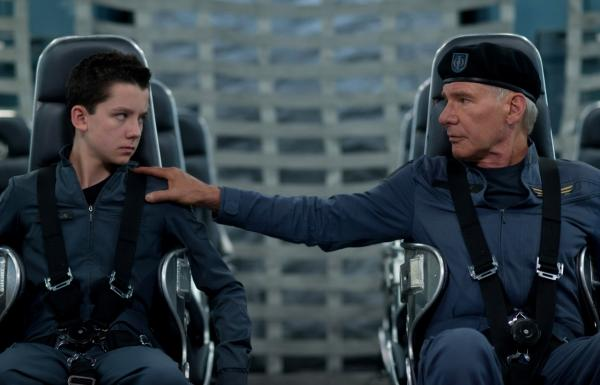 "Asa Butterfield (left) plays Ender Wiggin and Harrison Ford (right) plays Colonel Graff in the new film ""Ender's Game."" (Richard Foreman Jr., SMPSP, © 2013 Summit Entertainment, LLC. All Rights Reserved.)"