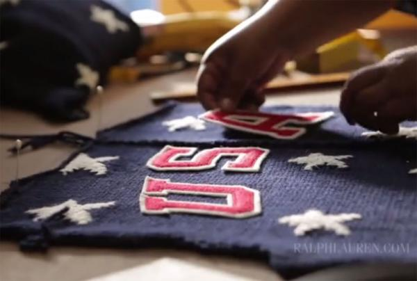 The design for the Team USA Opening Ceremony sweater has yet to be fully revealed. This screen grab from a Ralph Lauren video gives a peek.