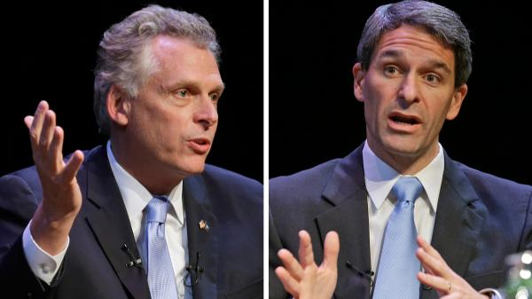 Virginia gubernatorial candidates Democrat Terry McAuliffe (left) and Republican Ken Cuccinelli.