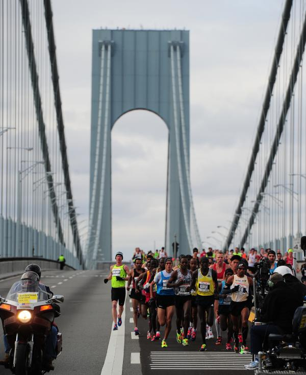Runners cross the Verrazano Bridge as they race in the New York City Marathon on Sunday.