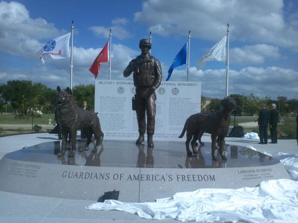 Military Working Dog Teams National Monument unveiled at Joint Base San Antonio-Lackland Monday, Oct. 28, 2013