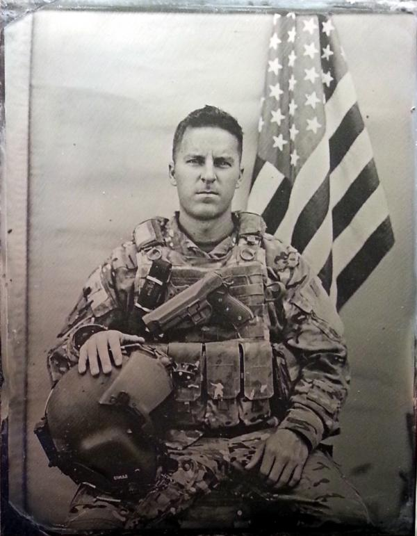 """Lieutenant/Co-pilot,"" a tintype made by Ed Drew in Afghanistan. (Ed Drew, Courtesy of the Robert Koch Gallery)"