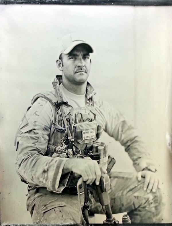 """Sergeant/Pararescueman,"" a tintype made by Ed Drew in Afghanistan. (Ed Drew, Courtesy of the Robert Koch Gallery)"
