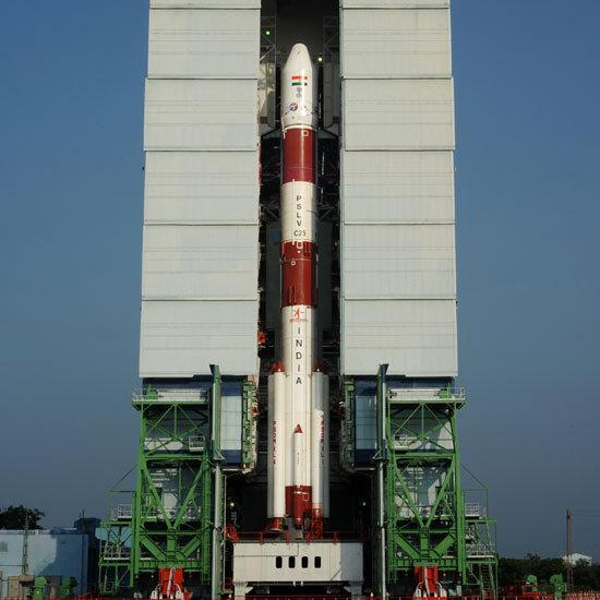 The PSLV-C25, with India's Mars orbiter aboard, prior to Tuesday's launch at the Satish Dhawan Space Centre in southern India.