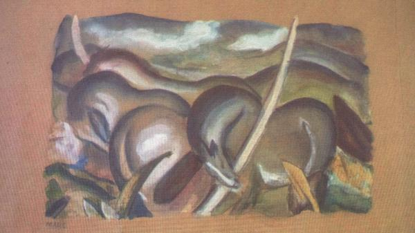 A painting by Franz Marc<em>, Horses in Landscape</em>.