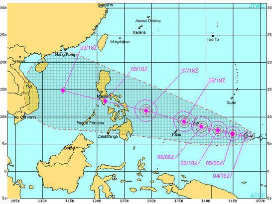 A graphic from the U.S. Naval Observatory showing the expected track of Typhoon Haiyan.