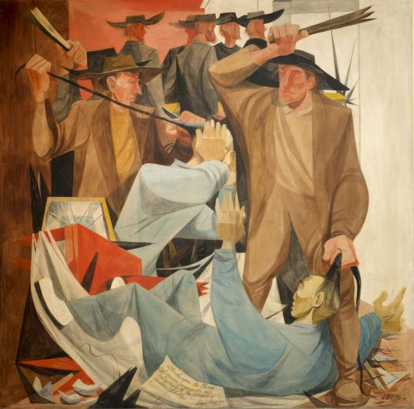 Anton Refregier's <em>Beating the Chinese</em> is a panel in the History of San Francisco mural at the city's Rincon Center. Chinese immigrants were frequent targets of hoodlums in the late 19th century.