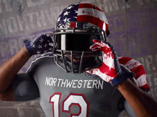 Part of the special design to be worn by Northwestern University football players on Nov. 16.