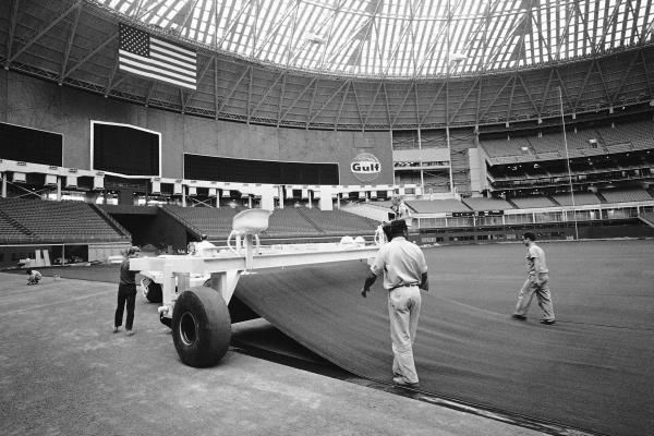 Grass is replaced with Astroturf in 1966. The grass that was originally used dried out under the dome.