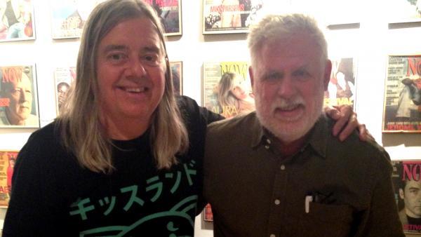 Michael Hollett (left) with <em>World Cafe</em> host David Dye.