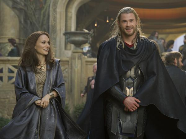 This time it's scientist Jane Foster (Natalie Portman) playing stranger in a strange land when Thor takes her to his otherworldly home in Asgard.