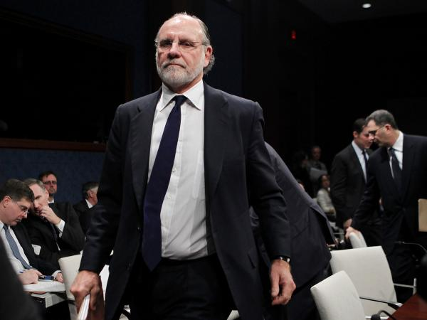 Jon Corzine, former New Jersey governor and ex-CEO of MF Global, leaves a congressional hearing in 2011.