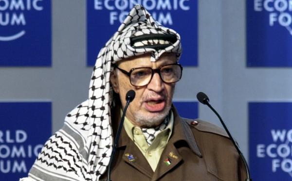 Yasser Arafat is pictured speaking at the World Economic Forum in 2001. (Remy Steinegger/World Economic Forum)